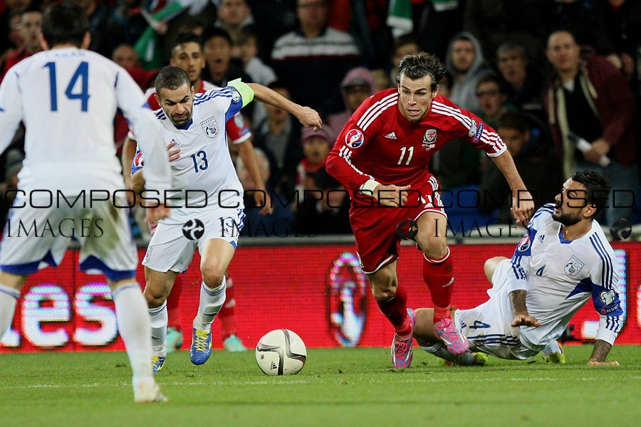 Gareth Bale of Wales runs at the Cyprus defence during the Euro 2016 qualification match between Wales and Cyprus.