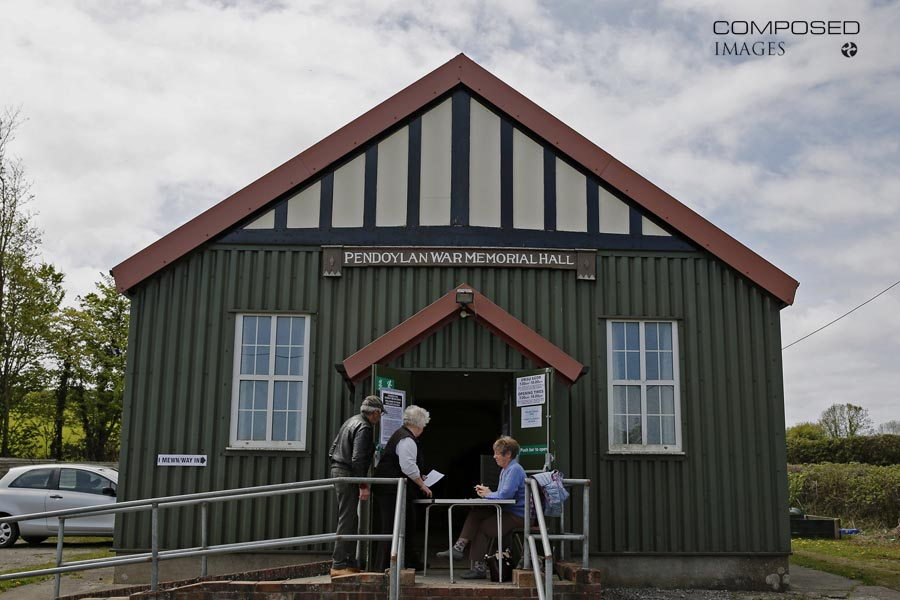 Pendoylan War Memorial Hall polling station in the Vale of Glamorgan, on the afternoon of the 2015 UK General Election.