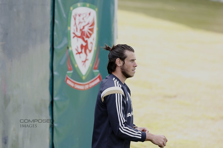 Gareth Bale walks onto the training field for Wales national team training at the Vale Resort, Hensol, south Wales, ahead of the UEFA Euro 2016 qualification match against Belgium. Picture by Mark Hawkins / Composed Images, 07949023795, 08/06/2015.