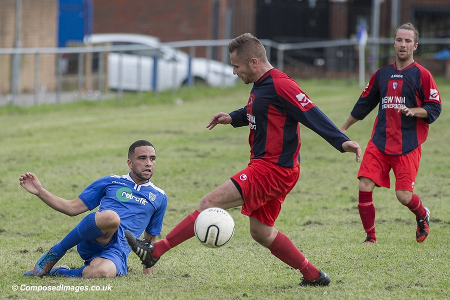 Match action during the first qualifying round match of the JD Welsh FA Cup between AFC Butetown and Blaenrhondda at Loudoun Square, Butetown, Cardiff.