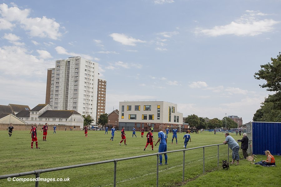 A general view of the Loudoun Square pitch during the first qualifying round match of the JD Welsh FA Cup between AFC Butetown and Blaenrhondda at Loudoun Square, Butetown, Cardiff.