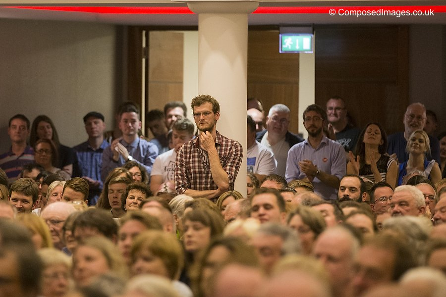 Members of the audience during a Jeremy Corbyn Labour Leadership rally at the Mercure Hotel in Cardiff City Centre, Wales, UK. Picture by Mark Hawkins / Composed Images, 07949023795, 11/08/2015.