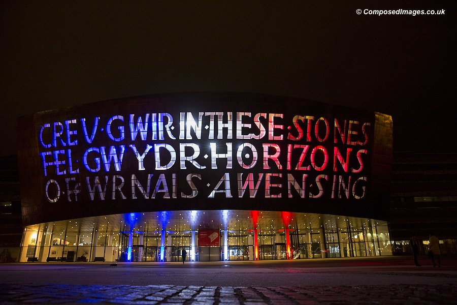 The Millennium Centre in Cardiff Bay is lit in the colours of the French tricolor, ahead of a vigil in solidarity with the people of Paris following terrorist attacks. Picture by Mark Hawkins / Composed Images, 07949023795, 15/11/2015.
