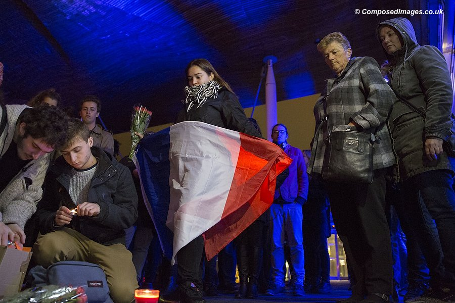A group of young French people during a vigil on the steps of the National Assembly for Wales Senedd Building in Cardiff Bay, in solidarity with the people of Paris following terrorist attacks. Picture by Mark Hawkins / Composed Images, 07949023795, 15/11/2015.