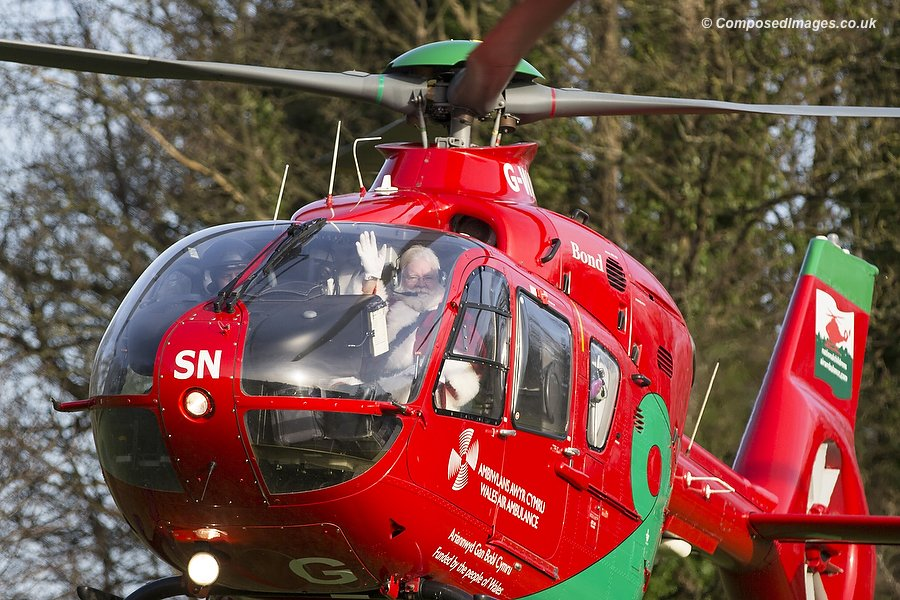 Father Christmas, flown in by Wales Air Ambulance, visits children's hospice Ty Hafan in Sully, Wales, 23/12/2015.