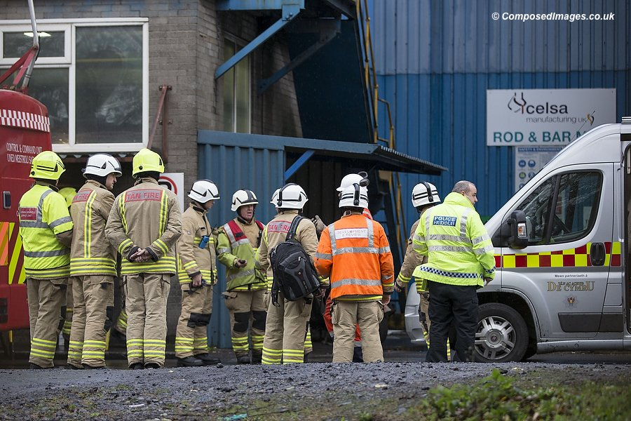 Emergency services at Celsa Steelworks in Cardiff following an explosion resulting in multiple casualties. Picture by Mark Hawkins / Composed Images, 07949023795, 18/11/2015.